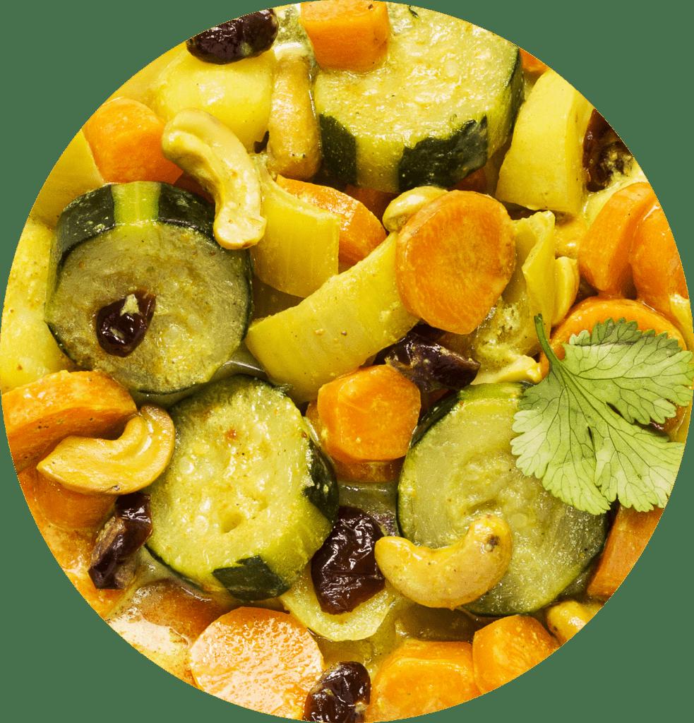 Image de la recette curry doux de légumes aux cranberries