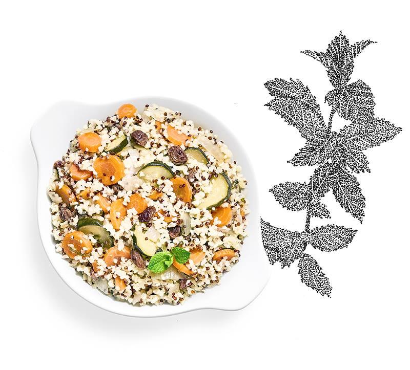 Suggestion de présentation du plat préparé légumes al dente à la menthe fraîche, Boulghour et Quinoa