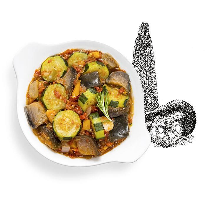 Suggestion de présentation du plat préparé Ratatouille à l'huile d'olive infusée au romarin