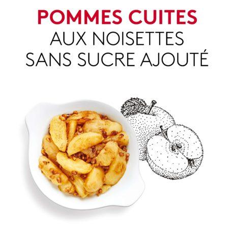 Suggestion de présentation du plat préparé, Pommes cuites aux noisettes sans sucre ajouté