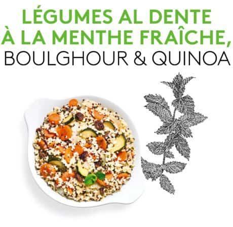 Suggestion de présentation du plat préparé légumes al dente à la menthe fraîche, Quinoa et Boulghour