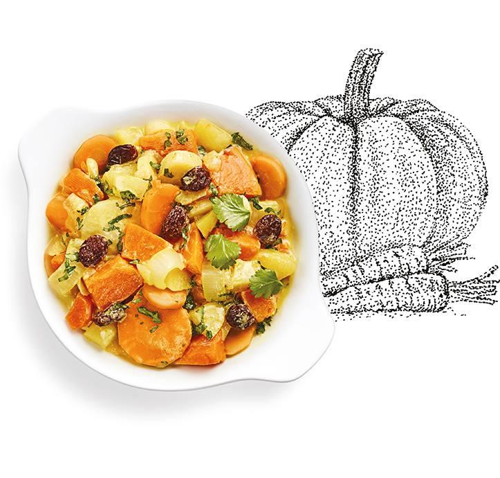 Suggestion de présentation du plat préparé, curry de légumes aux cranberries