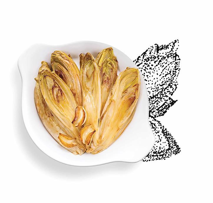 Suggestion de présentation du plat préparé endives braisées à l'aïl doux confit