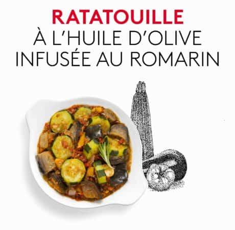 Suggestion de présentation du plat préparé, de ratatouille à l'huile d'olive infusée au romarin