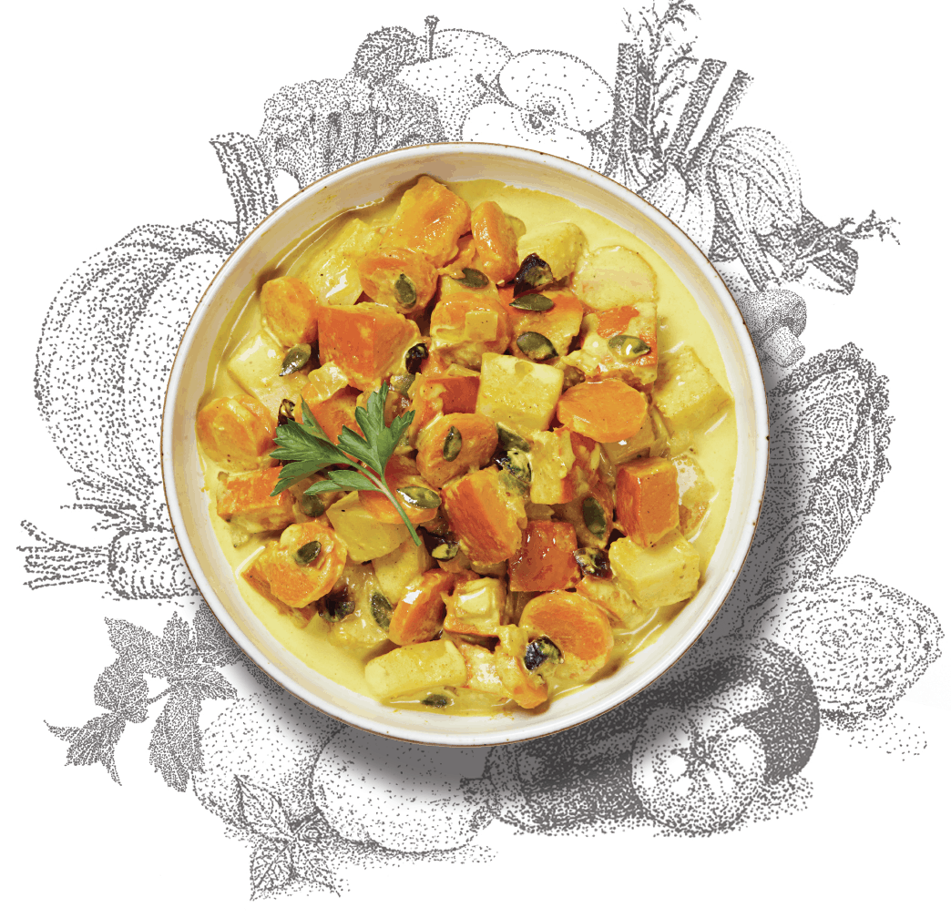 Photo du plats du curry doux de légumes aux cranberries