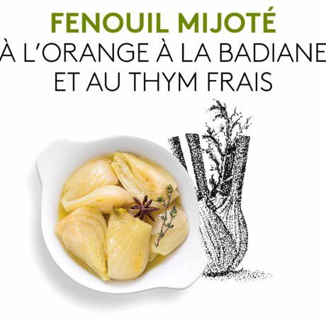 Suggestion de présentation du plat préparé, d'un fenouil mijoté à l'orange à la badiane et au thym frais